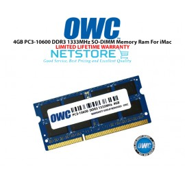 image of OWC 4GB PC3-10600 DDR3 1333MHz SO-DIMM 204 Pin CL9 Macbook Ram Memory Upgrade For Multiple iMac Models And PCs Which Utilize PC3-10600 SO-DIMM Model OWC1333DDR38S4G