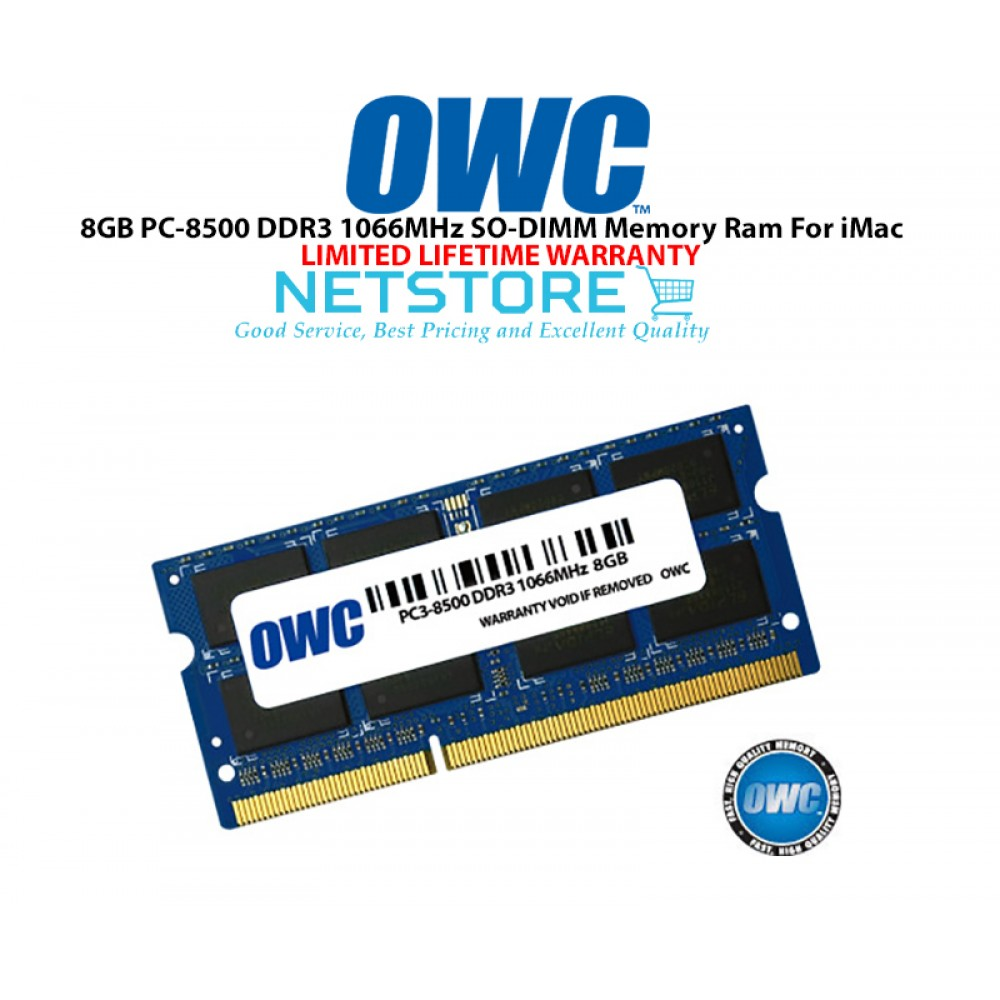 OWC 8GB PC3-8500 DDR3 1066MHz SO-DIMM 204 Pin Macbook Ram Memory Upgrade For Multiple iMac Models And PCs Which Utilize PC3-8500 SO-DIMM Model OWC8566DDR3S8GB