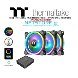 image of Thermaltake Riing Trio 12 RGB Radiator Fan TT Premium Edition (3-Fan Pack) CL-F072-PL12SW-A 120mm RGB LED Case Fan