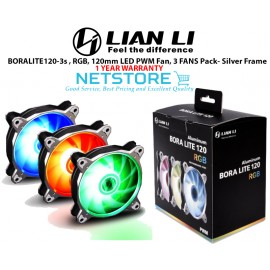 image of Lian Li BORALITE120-3S - 120mm LED PWM RGB Fan, 3 FANS Pack- Silver
