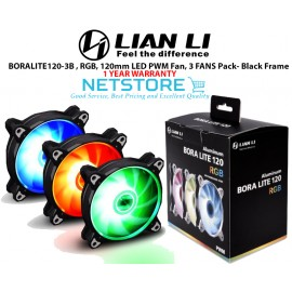 image of Lian Li BORA LITE 120-3B - 120mm LED PWM RGB Fan, 3 FANS Pack- Black