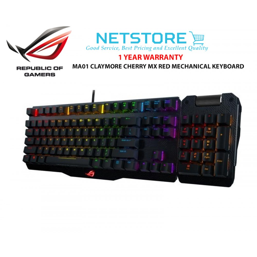ASUS ROG MA01 CLAYMORE CHERRY MX BLUE / RED MECHANICAL GAMING KEYBOARD