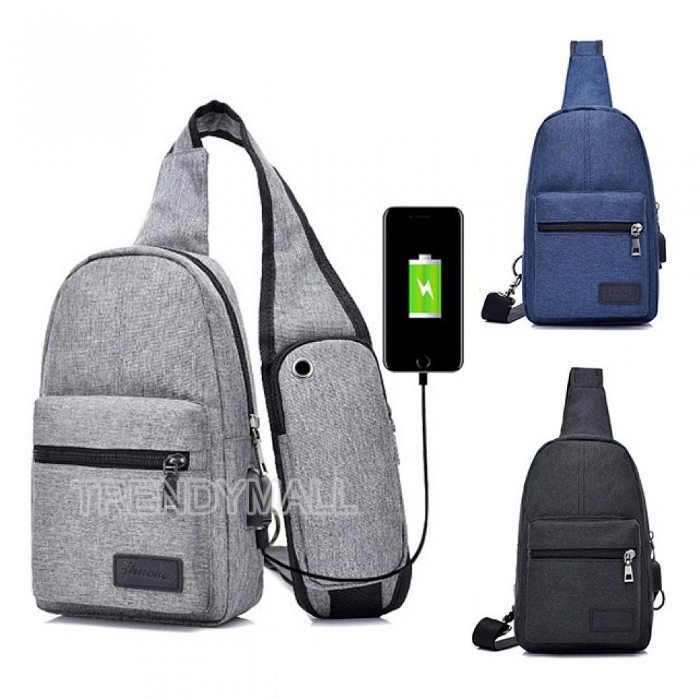 2018 USB Men's Chest Canvas Sling Bag/Casual Bag