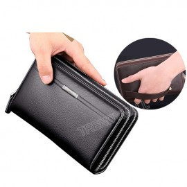 image of Faux Leather Double Zip Men's Wallet / Clutch /Wristlet