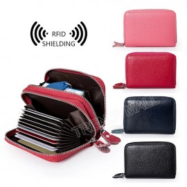 image of Readystock Genuine Cow Real Full Leather Zip Card Holder Case Coin Pouch