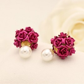 image of 2016 Korea Fashion High Quality Pearl With Flower Earrings