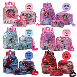 image of 3 in 1 set Cartoon Kids Backpack / School Bag / Casual Backpack
