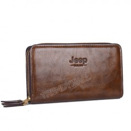 image of Faux Leather Double Zip Men's Wallet / Clutch /Wristlet (JEEP)