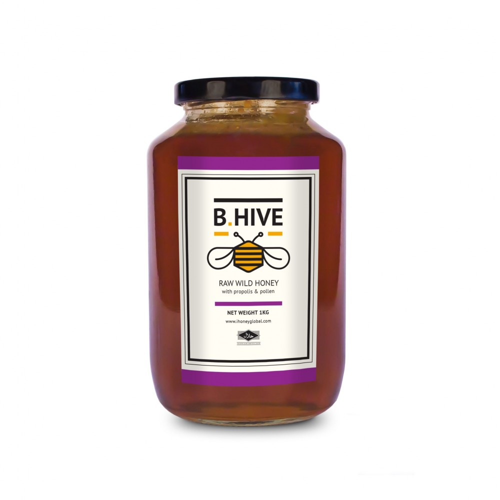 B.Hive Raw Wild Honey 1kg ( with Propolis and Pollen )