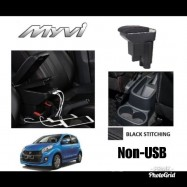 image of Armrest Perodua Myvi 2005-2016 Double Layer Black Stitching (Non-USB)