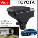 Armrest Toyota Vios 2002-2013 Double Layer Black Stitching (Non-USB)