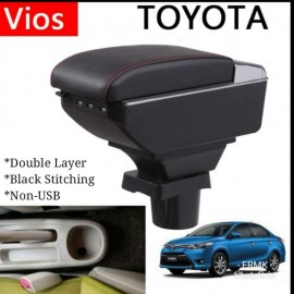 image of Armrest Toyota Vios 2002-2013 Double Layer Black Stitching (Non-USB)