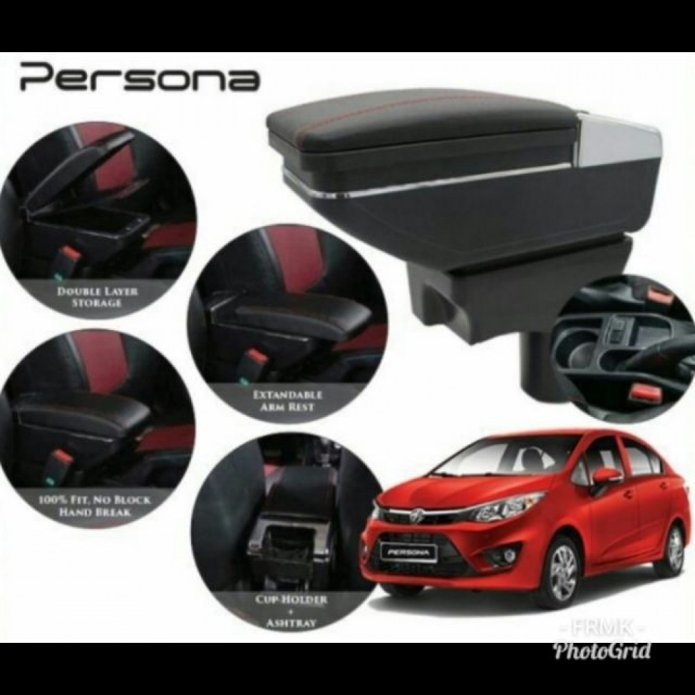 Armrest Proton Persona/Iriz Double Layer Black Stitching (Non-USB)
