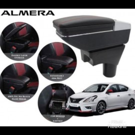 image of Armrest Nissan Almera Double Layer Black Stitching (Non-USB)