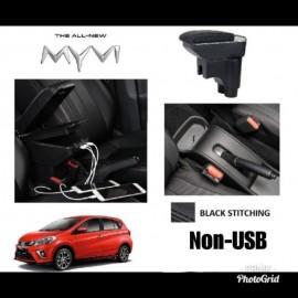 image of Armrest Perodua Myvi 2017-2018 Double Layer Black Stitching (Non-USB)