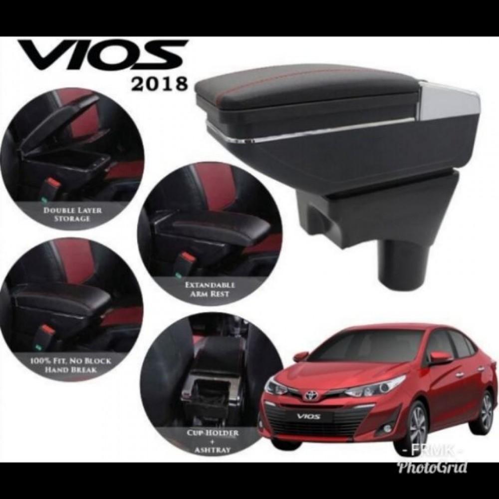 Armrest Toyota Vios 2014-2018 Double Layer Black Stitching (Non-USB)