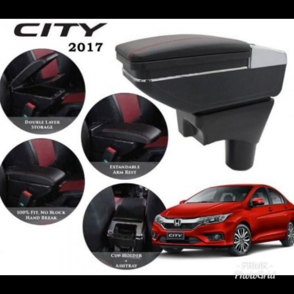 Armrest Honda CityJazz 2014-2018 Double Layer Black Stitching (Non-USB)