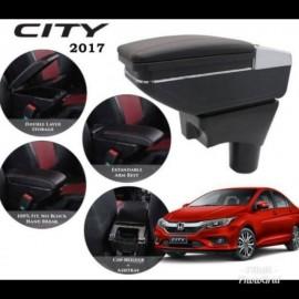 image of Armrest Honda CityJazz 2014-2018 Double Layer Black Stitching (Non-USB)