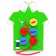image of [Little B House] Wooden String Clasp Threading Button Up Board Game Montessori Early Education -BT29
