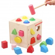 image of [Little B House] Shape Sorting Box with Wooden Hammer Wooden Toy -BT15
