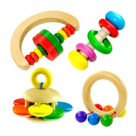 image of [Little B House] (1 set 4 pcs) Infant Grasping Wooden Rattles Handle Bell Combination -BT23
