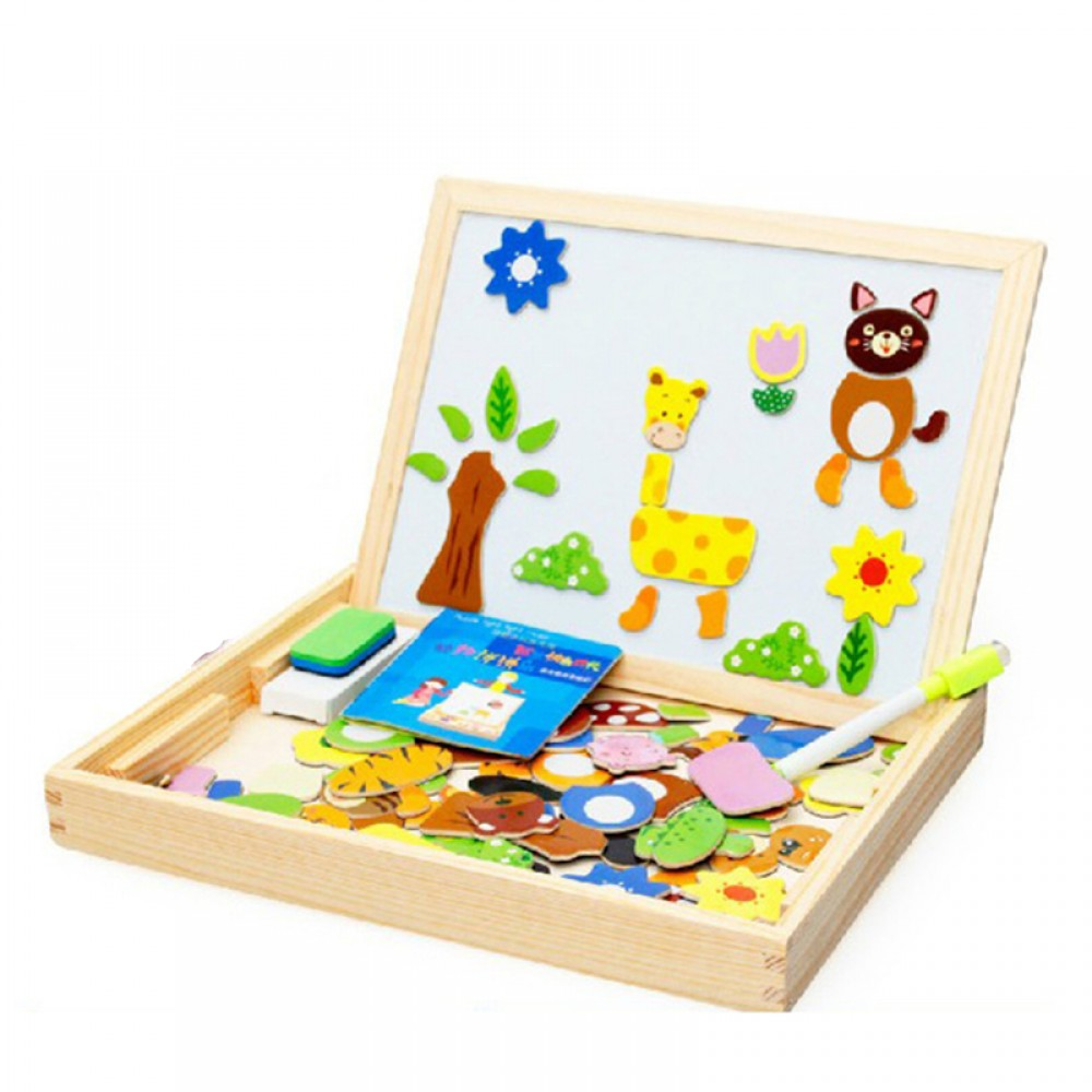 [Little B House] Early Learning Animal Wodden Magnet Puzzle with White and Black Broad -BT24