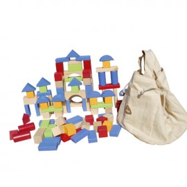 image of [Little B House] 100 pieces Wooden Building Blocks Set with Carrying Bag -BT26