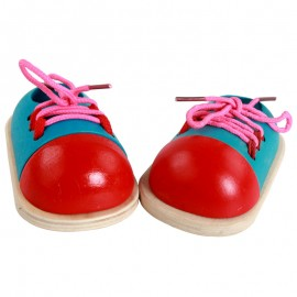 image of [Little B House] Lacing Shoe Tie a Shoe Wooden Toy Montessori Early Education -BT30