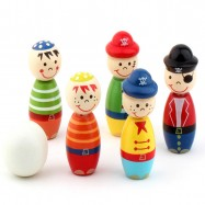 image of [Little B House] Mini Bowling Game Colorful Pirate Wooden Toy -BT32