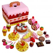 image of [Little B House] Mother Garden Wooden Strawberry Chocolate Combo Toy Birthday Party Cake Set - BT47