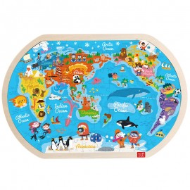 image of [Little B House] Early Learning Children Cognitive World Map Wooden Puzzle Toy - BT48