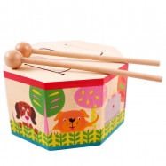 image of [Little B House] Octagonal Wooden Musical Instruments Educational Hand Drum Toy - BT49