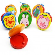 image of [Little B House] Colorful Animal Round Castanets Musical Instrument Wooden Toy -BT33