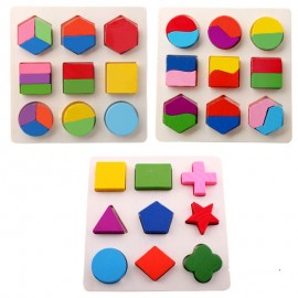 image of [Little B House] Montessori Brain Training Intellectual Wooden Puzzle Geometric Shape Toy Block -BT34