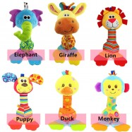 image of [Little B House] Happy Monkey Hand Rattle Teether Soft Infant Toy -BT38
