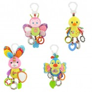 image of [Little B House] Happy Monkey Baby Car Bed hanging with Teether Rattle Toy - BT46