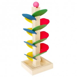 image of [Little B House] Colorful Wooden Spiral Tree Leaves Tower Build Ball Game Toy - BT51