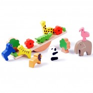 image of [Little B House] Educational Learning Animal Forest Seesaw Ecology Wooden Balance Blocks Toy - BT52