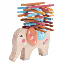 image of [Little B House] Education Toy Elephant Balance Beam Wooden Color Stick Stacking Games - BT55
