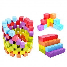 image of [Little B House] Education Toy Wooden 100pcs Colorful Cube Stack Blocks Brick - BT56