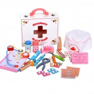 image of [Little B House] Wooden Small Doctor Children Medical Kit Simulation Medicine Box Toys - BT57