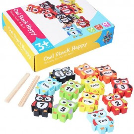 image of [Little B House] Owl Wooden Blocks Tower Balance Domino Jenga Toys - BT59