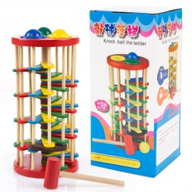 image of [Little B House] Wooden Colorful Knocking Ball Fall the Ladder Hitting Puzzle Toy - BT60
