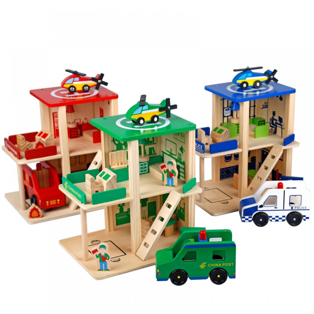 [Little B House] Wooden House Role-Play Disassembly Educational Police/Fire Station Toy Set - BT63