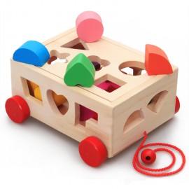 image of [Little B House] Multi-functional Intelligence 15 Holes Pull Along Car Wooden Shape Sorter Toy - BT6..