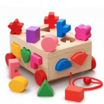 [Little B House] Multi-functional Intelligence 15 Holes Pull Along Car Wooden Shape Sorter Toy - BT64