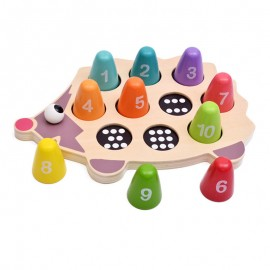image of [Little B House] Little Hedgehog Learns Count Number Wooden Puzzle Matching Toy - BT65