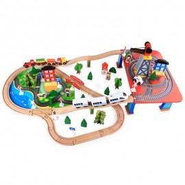 image of [Little B House] Wooden Railway DIY 88pcs Train Track Educational Toys for Kids Set - BT66