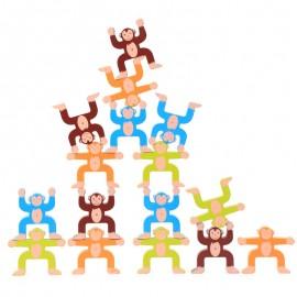 image of [Little B House] Wooden Monkey Building Block Educational Balance Game - BT68