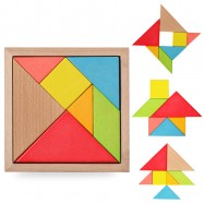 image of [Little B House] Large Wooden Tangram Jigsaw Puzzle Developmental Toy - BT70